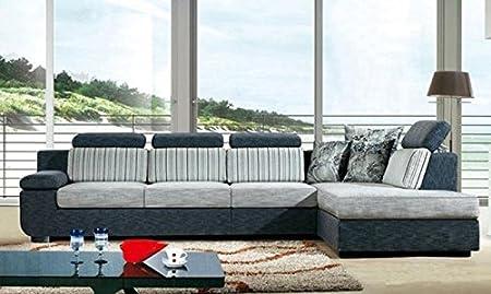 Divano salotto angolare in tessuto grigio