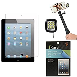 iKare Pack of 11 Matte Screen Protector for Apple iPad Air 2 + 3.5mm Continuous LED Spotlight Flash