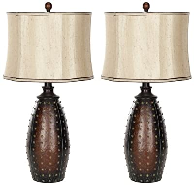 Safavieh Lighting Collection Santa Fe Brown Faux Leather 28-inch Table Lamp (Set of 2)