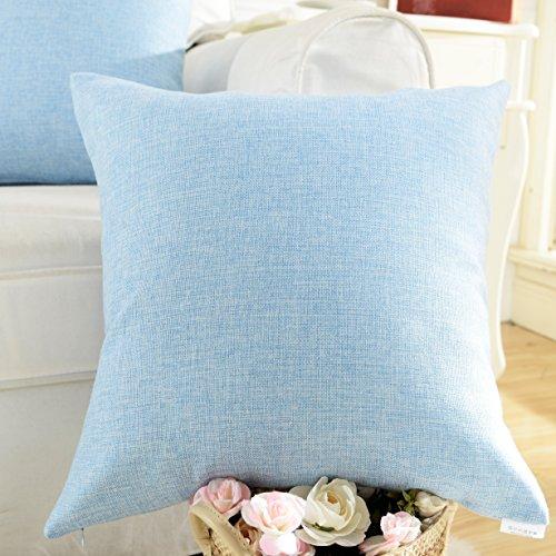 Home Brilliant Fuax Linen Square Throw Pillowcase Cushion Cover for Sofa, Light Blue, 18 x 18 (Light Blue Pillows Decorative compare prices)