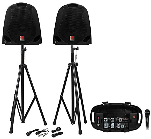 Rockville GB1 Portable Powered PA System W/ Mixer+Speakers+Stands+Mic DJ Package (Complete Pa System Package Mixer compare prices)