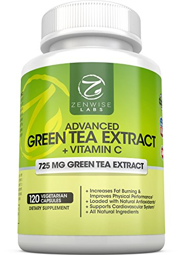 Green Tea Extract Supplement with EGCG for Weight Loss - Decaffeinated Vegetarian Pills for Metabolism Boost and Heart Health with Vitamin C - Natural Source of Energy- 120 Vcaps (Green Tea Extract Capsules compare prices)