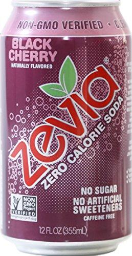 Zevia Zero Calorie Soda, Black Cherry, Naturally Sweetened, (Pack of 24)
