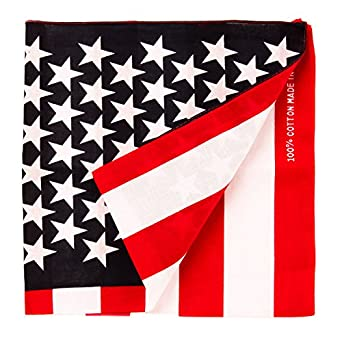 "Bandanas By The Dozen 100% Cotton, Head Wrap 22"" x 22"", American Flag, Size 22"" X 22"""