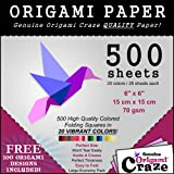 Origami Paper Special - 500 Sheet Economy Pack - 6 Inch Square Sheets - 20 Vivid Colors - 100 Designs Included!
