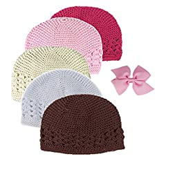HipGirl Girls 5pc Handmade Baby Crochet Hats With Bow