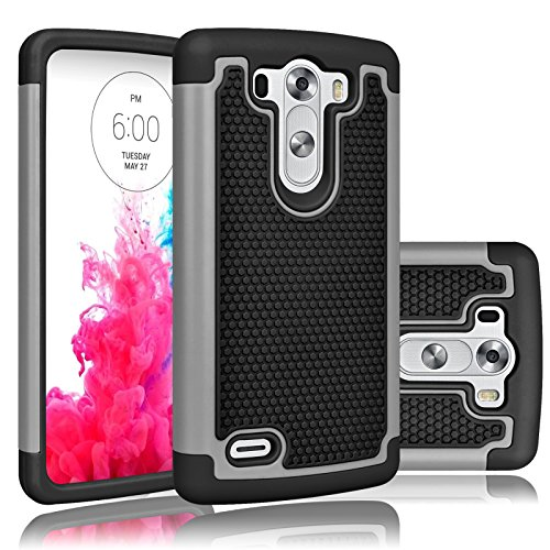 LG G3 Vigor Case, LG G3 Mini Case, Tekcoo(TM) [Tmajor Series] [Grey] Shock Absorbing Hybrid Rubber Plastic Impact Defender Slim Hard Case Cover Shell For LG G3 Vigor,G3 Mini LS885 D725 (Lg G3 Rubber Case compare prices)