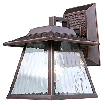 Portfolio Dark Oil-Rubbed Bronze Outdoor Wall Light with Clear Water Glass