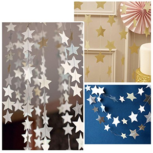 SUPPION Stars String Paper Garlands, Birthday Celebration Wedding Party Decoration Party Supplies(C) (Space Table Confetti compare prices)