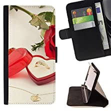 buy For Sony Xperia Z1 L39 - Love Wedding Ring Personalized Design Custom Style Pu Leather Case Wallet Flip Stand - God Garden -