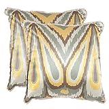 Safavieh Pillows Collection Keri Decorative Pillow, 18-Inch, Yellow, Set of 2