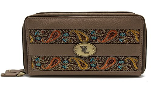 yl-zip-around-womens-genuine-leather-clutch-wallet-purse-hipster-embroidery-lace-yl-04-taupe