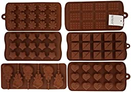 6pc Chocolate Molds, Lollipop Mold, Candy Molds, Ice Molds, Silicone Molds, Silicone Baking Molds- (Set of 6 Silicone Molds and 30pc Lollipop Sticks)