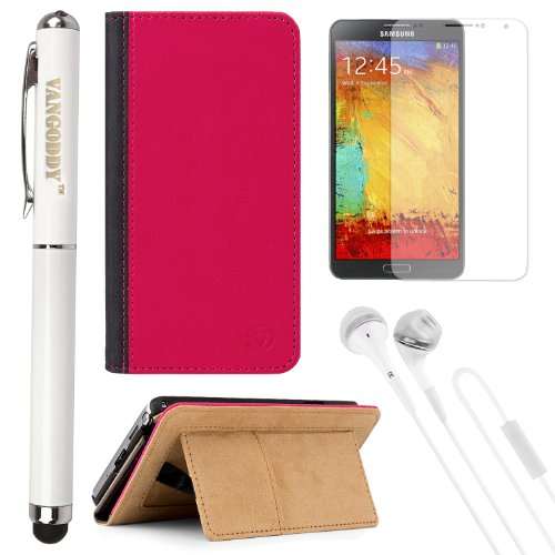 Vg Standing Wallet Pouch Case (Pink) For Samsung Galaxy Note 3 / Iii Smartphone + Screen Protector + Vg Stylus Pen & Laser + White Vangoddy Headphones