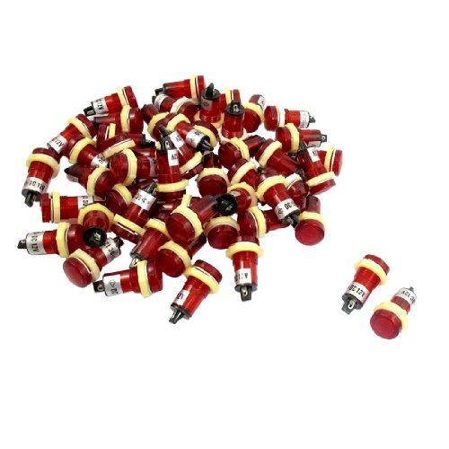 50 Pcs 15Mm Threaded 12Vdc Red Head Indicator Pilot Light Xd15-1