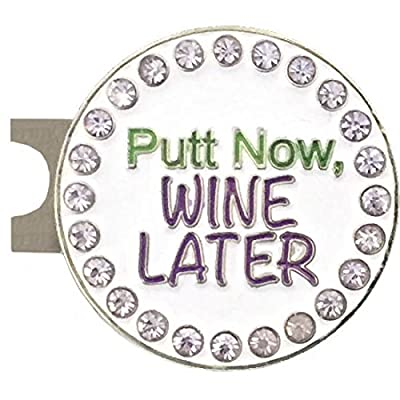 Giggle Golf Bling Putt Now, Wine Later Golf Ball Marker With A Standard Hat Clip