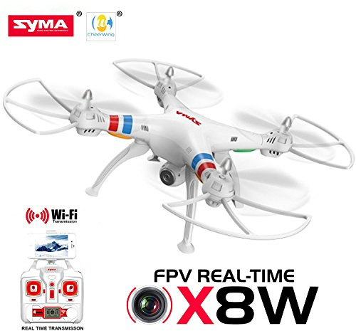 Cheerwing Syma X8W-V3 FPV Real-time 2.4Ghz 6 Axis Gyro Headless Quadcopter Drone with HD Camera RTF, White
