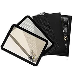 Premium 4 Piece Bakeware Set of 2 Silicone Baking Mats 1 Oven Liner and 1 Crisping Sheet With Bonus Recipes Ebook
