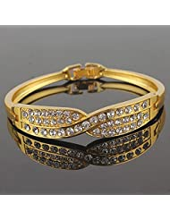 Glitz Fashion 18K Gold Plated Studded Contemporary Bracelet Bangle Jewelry For Women