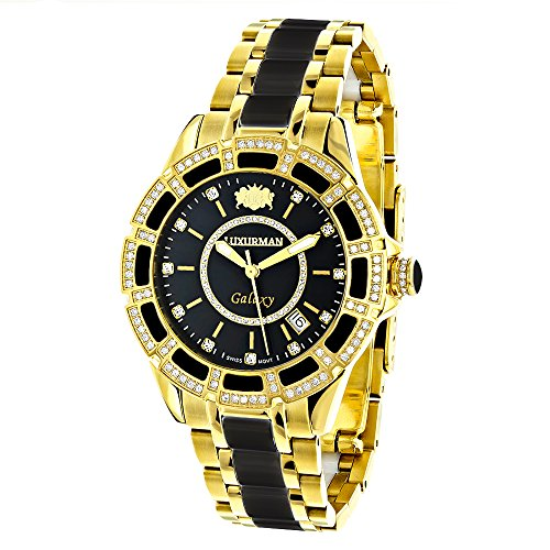 Diamond Mens & Womens Black Ceramic Watches Yellow Gold Pld Luxurman Galaxy