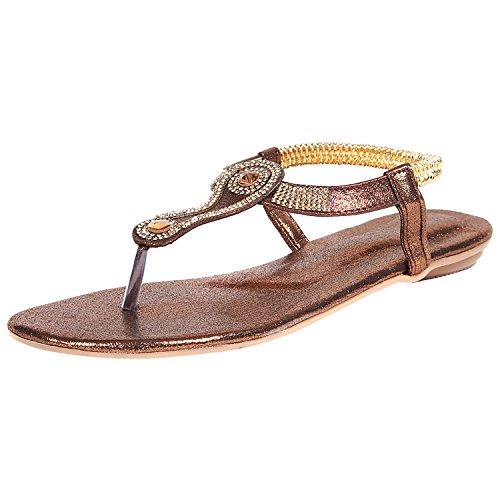 KA Fashion Copper Wooden Sole Open Toe Footwear For Women(Size-7)