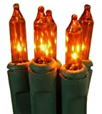 Set of 50 Super Bright Orange Mini Christmas Lights - Green Wire