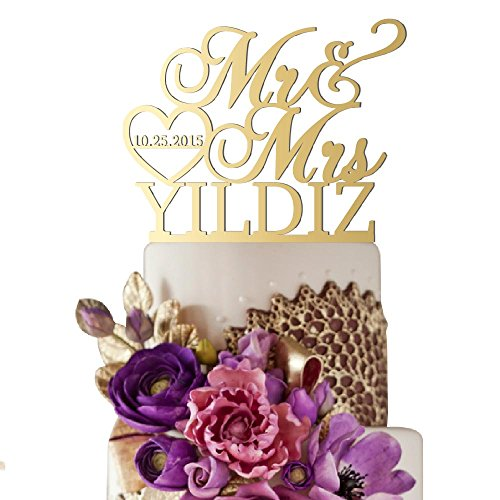 Sugar Yeti Made In USA Personalized Wedding Cake Topper Mr Heart Mrs With Date #32 Gold Mirror