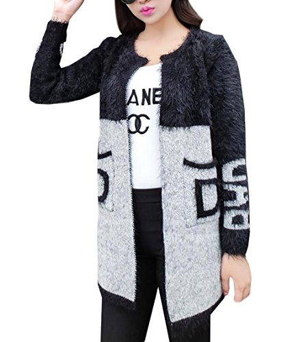 Hole Tide Women's Non-Fastening Furry Long Cardigan Black Size US 8
