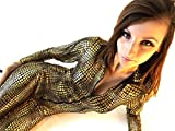 New Ladies Sexy Clubwear Fashion Catwoman Catsuit Jumpsuit Black & Gold Snake Skin One Piece 8-12