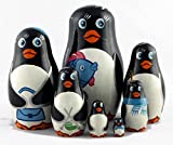 Penguins Matryoshka Babushka Russian Handmade Stacking Nesting Wooden Dolls in Dolls, 7pc