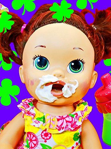 Baby Alive Eats McDonalds Happy Meal Magic Shake Maker Shamrock Shake + Gross Poop Diaper Change