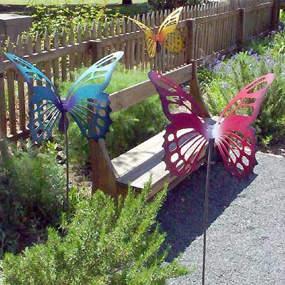 Large Metal Butterfly Garden Sculpture Stake Purple Blue
