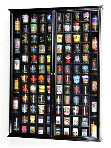 108 Shot Glass Shotglass Shooter Display Case Holder Cabinet Wall Rack 98% UV Double Door -Black (Plexi Display Case compare prices)