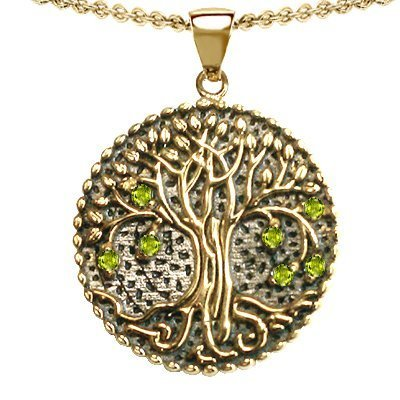 14k Yellow Gold Plated 925 Sterling Silver 1inch 6grams Designer Tree of Life Pendant Medallion by Devorah with 7 Genuine Peridots. Free 18inch Gold Plated Silver Chain. Free High End Gift Box.