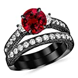 1.53 Carat 14K Black Gold Three Stone Vintage With Milgrain & Filigree Bridal Set with Wedding Band & Diamond Engagement Ring with a 0.5 Carat Natural Ruby Center (Heirloom Quality)