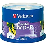 DVD R White Inkjet Printable Recordable Disc Spindle Pack Of 50 And Free 6 Feet Netcna HDMI Cable - By NETCNA
