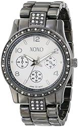 XOXO Women's XO5263 Gunmetal-Tone Clear Rhinestones Bezel Bracelet Watch