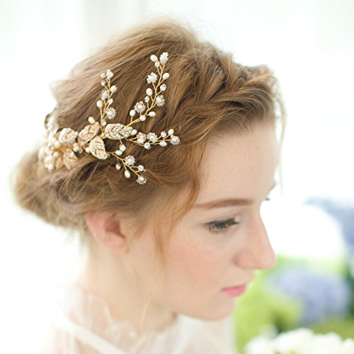 FAYBOX Vintage Gold Twig Crystal Pearl Side Combs Bridal Headpiece Wedding Accessories A