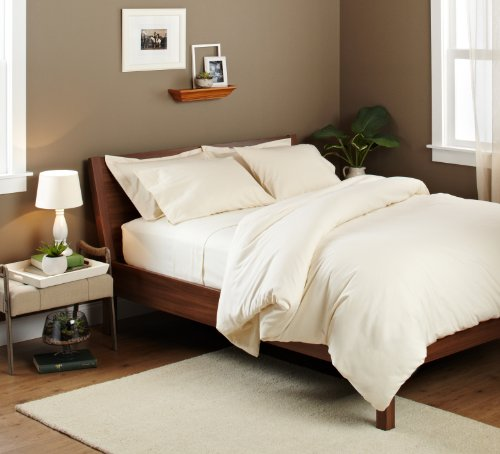 Big Save! Pinzon Signature 190-Gram Velvet Flannel Full/Queen Duvet Set, Cream