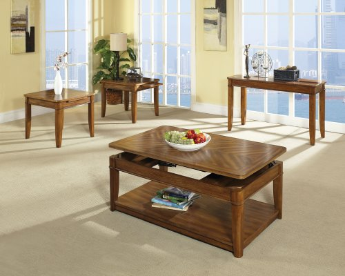 buy low price steve silver manor light oak coffee table and end table 3 piece set ma1000lk. Black Bedroom Furniture Sets. Home Design Ideas