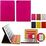 Topideal Woven Pattern Luxury Leather Case For Apple ipad Air/5 (2013) - Built-in Stand / Smart Cover Auto Wake & Sleep / Money Sleeve & Credit Cards Slots ,Hot Pink