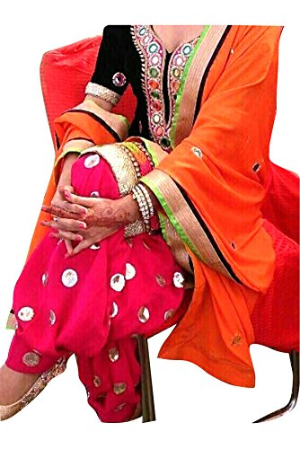 Sanjana Women's Punjabi Kudi Orange Dress Material (SD1294_Orange_Free Size)