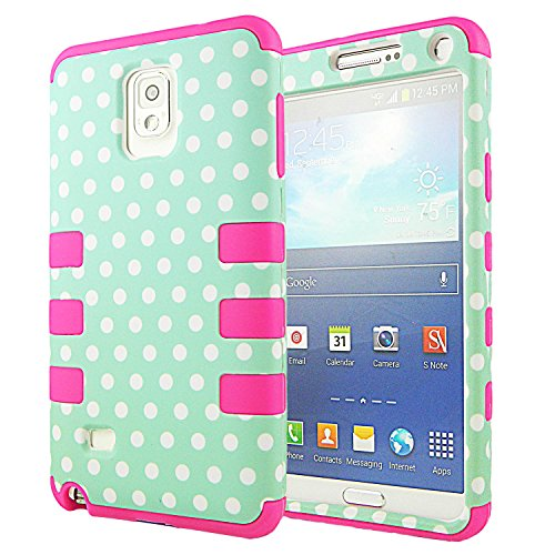 Note 4 Case,Galaxy Note 4 Case,CASELOCA Note 4 Hybrid Case Protective Case for Samsung Galaxy Note 4 with Shock Absorbing and Scratch Resistant 3 in 1 Silicone (Mint Polka Dots)