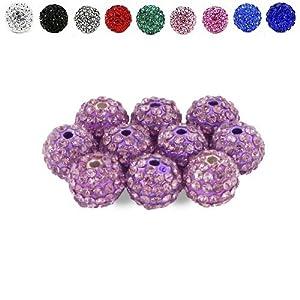 10 COULEURS PARMI CHOISIR Lot de 10 perles en forme de boules disco, cristal et strass, style Shamballa. Par KurtzyTM- Violet