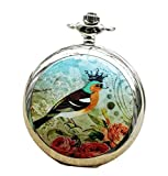 Infinite U Rey de Pájaro y Rosas de Amor Grande Reloj de Bolsillo Cuarzo con Espejo Plateado