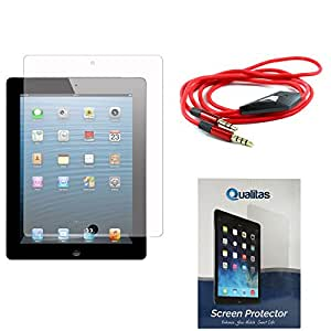 Qualitas Pack of 10 Matte Screen Protector for Samsung Galaxy Tab 4 10.1 T531 + 3.5mm Flat AUX Cable with Mic