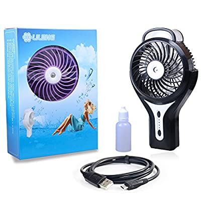 Handheld Water Misting Fan Portable Mini Fan Water Spray Fan with Personal Cooling Humidifier Battery Rechargeable USB Operated Fan for Beauty, Home, Office and Travel