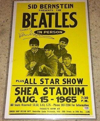 Paul Mccartney Signed Autograph Beatles 1965 Shea Concert Poster Psa/D