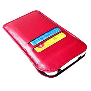 i-KitPit Genuine Leather Pouch Case For Blackberry Curve 9320 (RED)