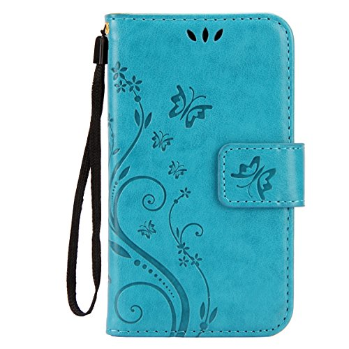 IKASEFU Pure Color Retro Butterfly Design Folio Leather Wallet Case Cover with Strap for Samsung Galaxy S3 Mini-Butterfly,Blue (Folio Samsung S3 Mini compare prices)